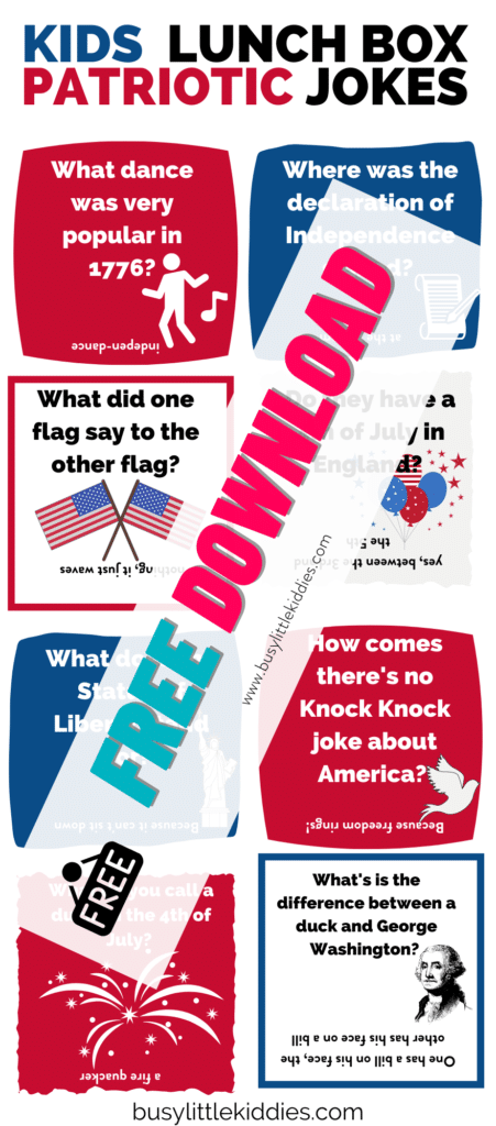 Kids Lunch box jokes for patriotic day-free download