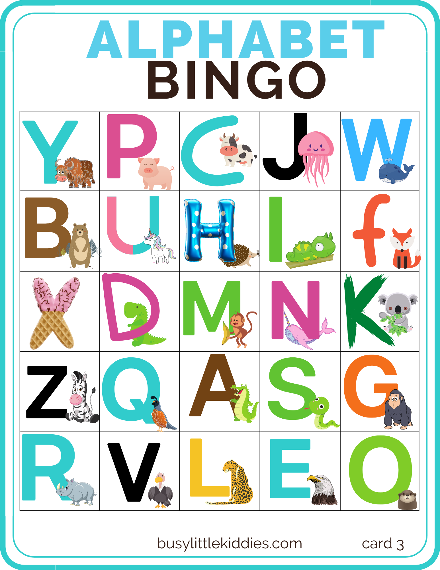Alphabet Bingo Free Printable With Pictures For Kids From 3 Years Old Busy Little Kiddies