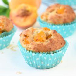 Banana peach oatmeal muffins