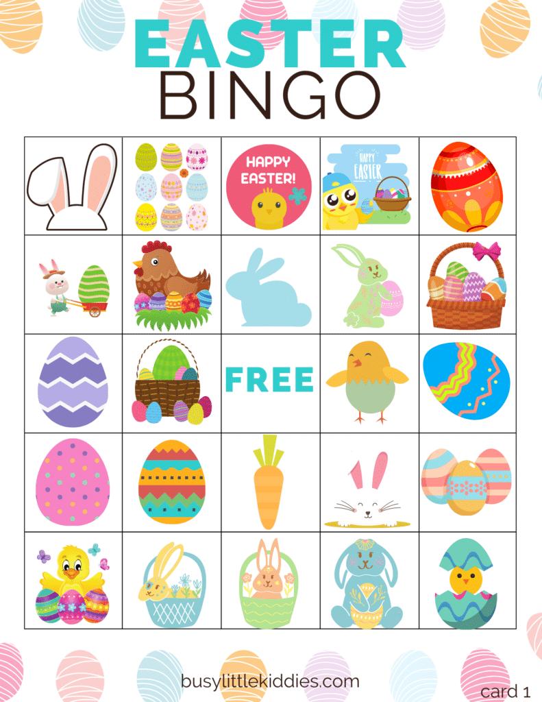 Easter bingo free printable 5 players