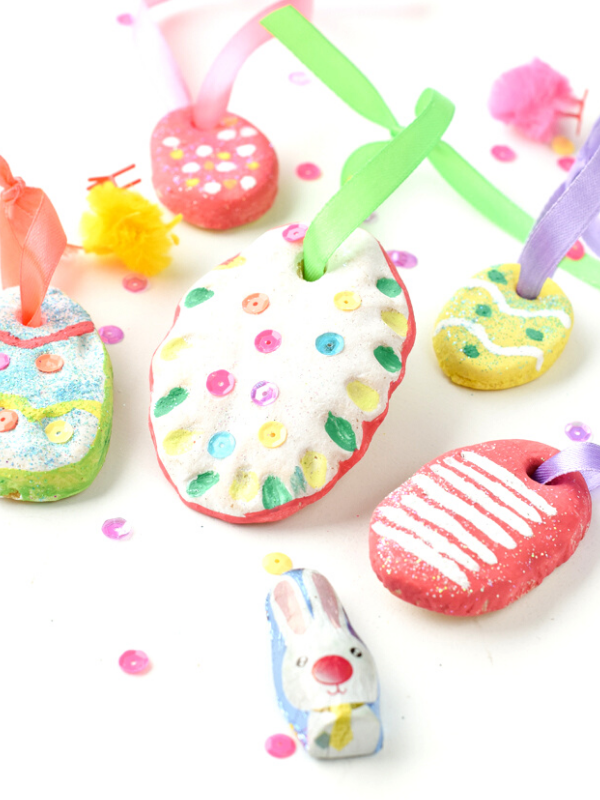 Easter egg salt dough ornaments