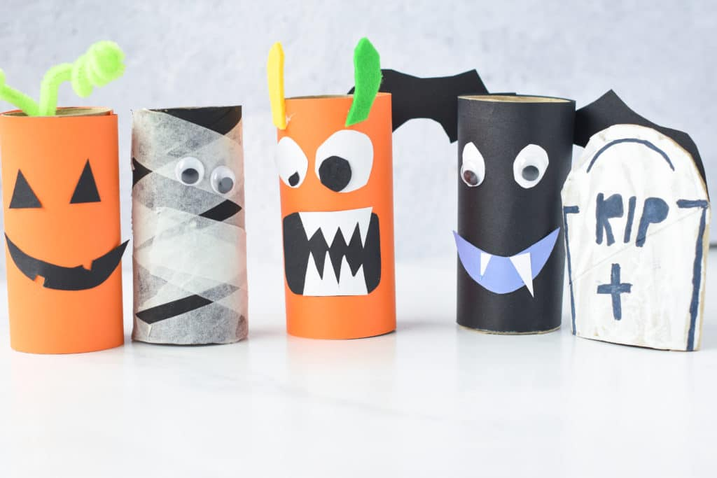Halloween Crafts made with toilet paper rolls