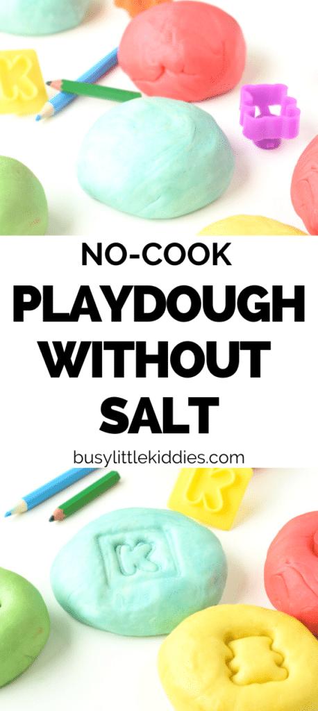 No-cook Homemade Playdough recipe without salt