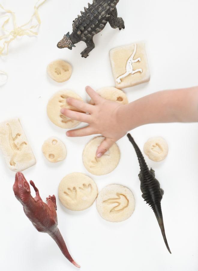 Salt dough dinosaur fossils for little ones
